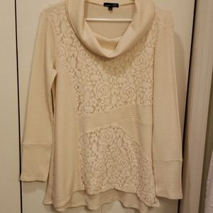 rxb lace and waffle knit tunic S